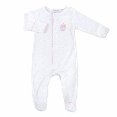 Magnolia Baby Girls Noah's Friends Embroidered Footie - Pink