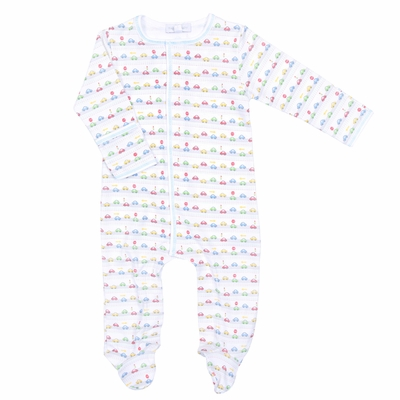 Magnolia Baby On The Go Cars Printed Footie - Light Blue