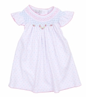 Magnolia Baby Girls White with Pink / Blue Dots Smocked Phoebe's Classics Bishop Dress Set