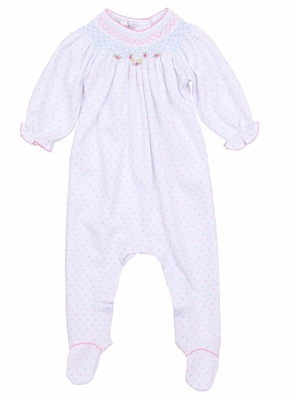 Magnolia Baby Girls White / Pink & Blue Dots Smocked Phoebe's Classics Bishop Footie