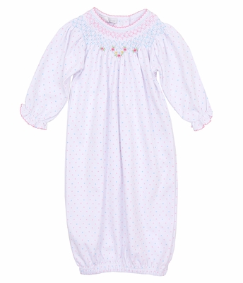 Magnolia Baby Girls White with Pink / Blue Dots Smocked Phoebe's Classics Bishop Gown