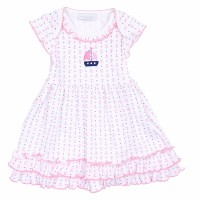 Magnolia Baby Girls Pink Set Sail Dress Set