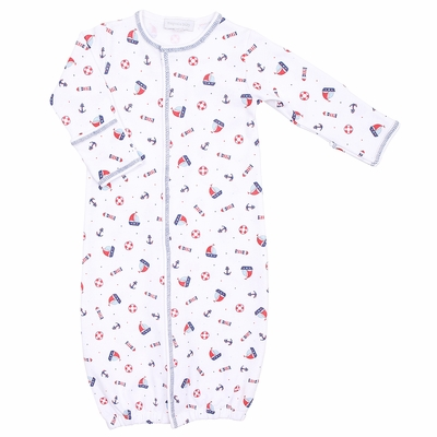 Magnolia Baby Boys Red / Blue Set Sail Sailboat Printed Converter Gown