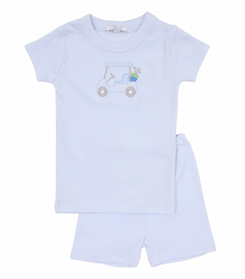 Magnolia Baby Boys Tee Time Golf Applique Short Pajamas - Blue