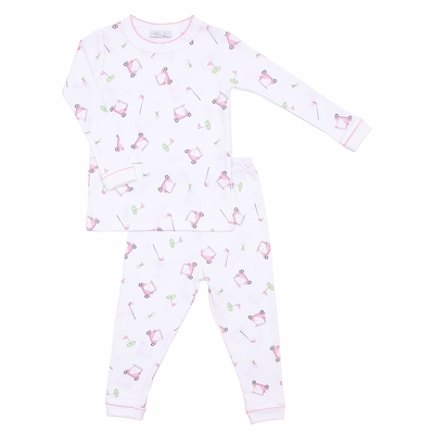 Magnolia Baby Little Girls Golf Tee Time Long Pajamas - Pink