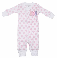 Magnolia Baby / Toddler Girls Little Peeps Easter Bunny Zip Pajamas - Pink Dots