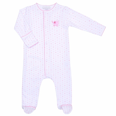 Magnolia Baby Tons of Love  Embrodered  Footie - Pink