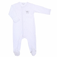Magnolia Baby Tons of Love  Embrodered  Footie  - Silver