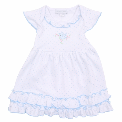 Magnolia Baby Girls Blue Vintage Birdie Embroidered Dress Set