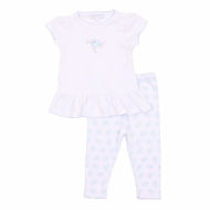 Magnolia Baby Girls Blue Vintage Birdie Printed Tee and Leggings Set