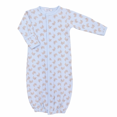 Magnolia Baby Boys Blue Vintage Buddy Dogs Printed Converter Gown
