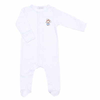 Magnolia Baby Boys Blue Vintage Cowboy Embroidered Footie