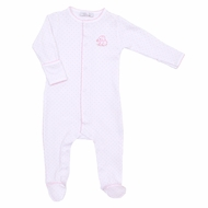 Magnolia Baby Girls Pink Vintage Elephant Embroidered Footie