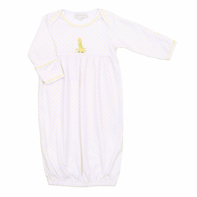 Magnolia Baby Girls / Boys Vintage Giraffe Embroidered Gathered Gown