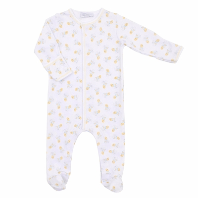 Magnolia Baby Girls or Boys Yellow Vintage Honey Bees Printed Footie
