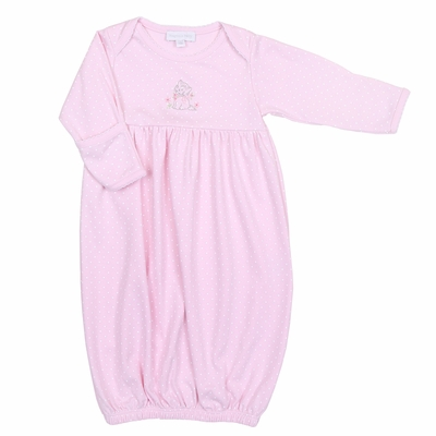 Magnolia Baby Vintage Kitty Gathered Gown - Pink