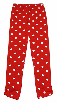 Mallory May Girls Ruched Leggings - Red with White Dots