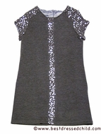 Maria Casero by Luli & Me Girls Grey Knit Dress with Sequins Details