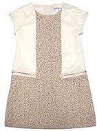 Maria Casero by Luli & Me Girls Ivory / Gold Leopard Dress with Zippers