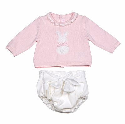 616571a09d3 Mayoral Baby Girls Pink   White Cottontail Bunny Sweater and Bloomers Set