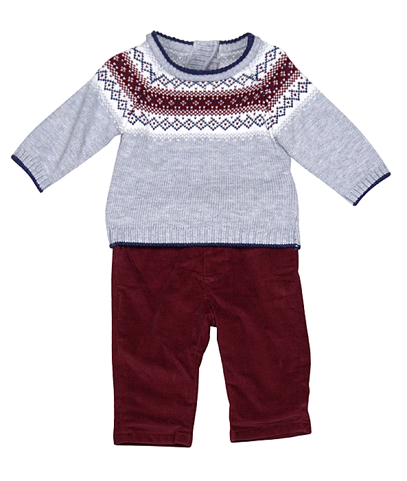 Mayoral Infant Boys Gray / Maroon Fair Isle Sweater with Maroon Pants