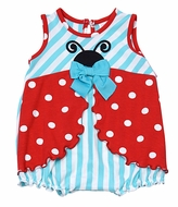 Molly & Millie Baby Girls Aqua Stripes / Red Dots Ladybug Bubble