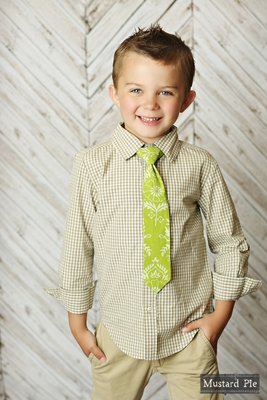 Mustard Pie Boys Neck Tie - Sweet Pea Green