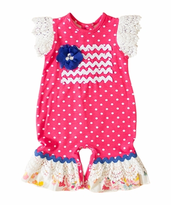 Peaches 'n Cream Baby Girls Azalea Pink Dots Patriotic Flag Romper