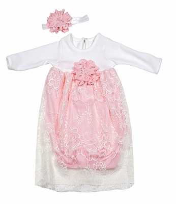 Peaches n Cream Baby Girls Pink Ivory Lace Overlay Gown
