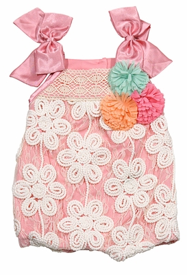 Peaches N Cream Baby S Peachy Pink Ivory Lace Roses Bubble With Bows