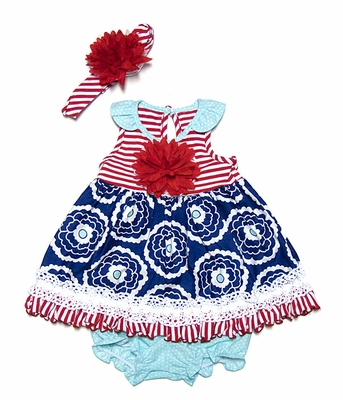 Peaches n Cream Baby Girls Patriotic Dress with Bloomers