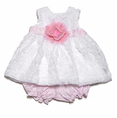 Peaches n Cream Baby Girls Pink Rosette Dress Bloomers