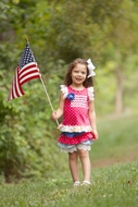Peaches 'n Cream Girls Azalea Pink Dots Patriotic Flag Ruffle Shorts Set