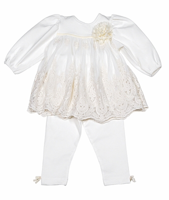 5095360aeb9d2 Peaches 'n Cream Infant Girls Ivory Lace Dress Set with Leggings