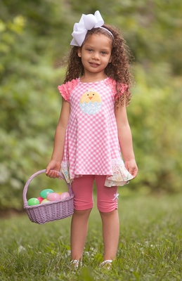 Peaches 'n Cream Toddler Girls Coral Pink Check Easter Chick Tunic wtih Leggings