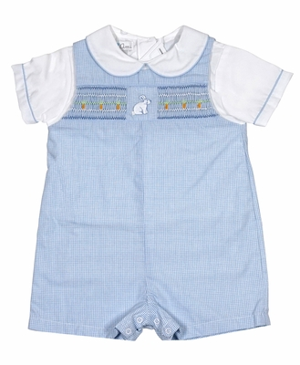 Petit Ami Baby Boys Blue Gingham Smocked Easter Bunny Romper