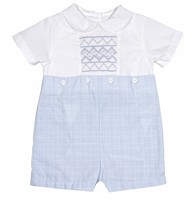 Petit Ami Baby Boys Blue Plaid Smocked Button On Suit