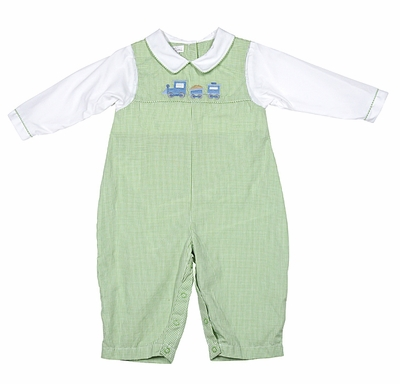 Petit Ami Baby Boys Green Gingham Longall with Blue Train Embroidery