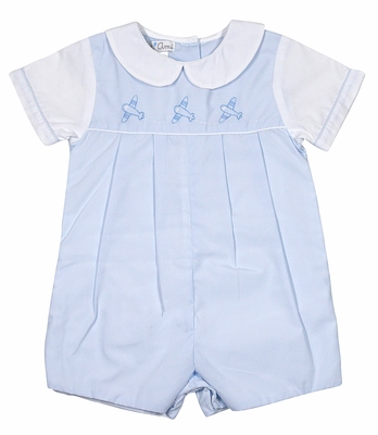 Petit Ami Baby Boys Light Blue Romper - Shadow Stitch Embroidered Airplanes