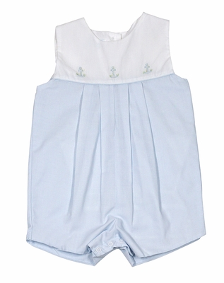 Petit Ami Baby Boys Light Blue Sunsuit - Shadow Stitch Embroidery Anchors