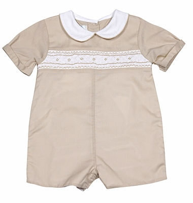 Petit Ami Baby Boys Tan Smocked Romper with Collar