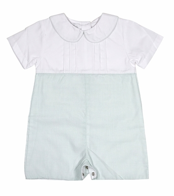 Petit Ami Baby Boys White / Green Check Romper Suit