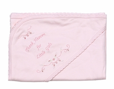 "Petit Ami Baby Gift - Girls ""Thank Heaven for Little Girls"" Pink Receiving Blanket"