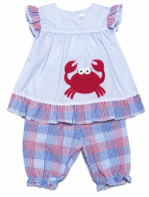 Petit Ami Baby Girls Blue / Red Plaid - Red Crab Bloomers Set