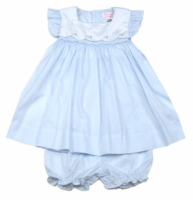 Petit Ami Baby Girls Embroidered Dress with Bloomers - Powder Blue