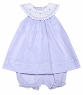 Petit Ami Baby Girls Embroidered Dress with Bloomers - Lavender