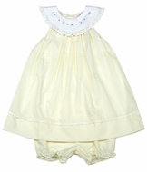 Petit Ami Baby Girls Embroidered Dress with Bloomers - Soft Yellow