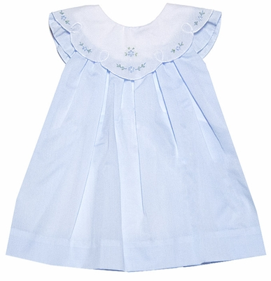 Petit Ami Baby Girls Light Blue Dress with White Embroidered Collar