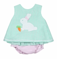 Petit Ami Baby Girls Mint Green Check Easter Bunny / Pink Check Bloomers Set