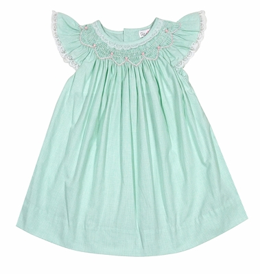Petit Ami Baby / Toddler Girls Mint Green Check Smocked Bishop Dress - Lace Trim